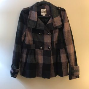 Pink and Grey Checked Peacoat